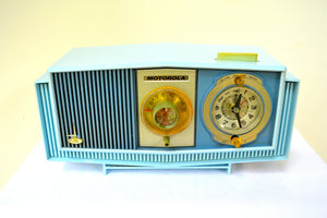 SOLD! - Aug 13, 2018 - BLUETOOTH MP3 UPGRADE ADDED - BLUE on Blue Mid-Century Retro 1963 Motorola Model C4P-55 Tube AM Clock Radio Rare Color! - [product_type} - Motorola - Retro Radio Farm