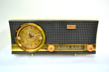 Load image into Gallery viewer, Black and White Mid Century Retro 1959-1961 Travler C230 Tube AM Clock Radio Rare Color Combo! - [product_type} - Travler - Retro Radio Farm