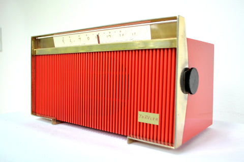 Rocketship Red Mid Century Sputnik Period Trav-Ler Model T-213 AM Tube Radio Blast Off!