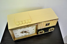Load image into Gallery viewer, SOLD! - Sept 28, 2019 - Lucent White 1962 Bulova Model 180 Tube AM Clock Radio Sweet! - [product_type} - Bulova - Retro Radio Farm