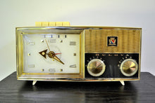 Load image into Gallery viewer, Lucent White 1962 Bulova Model 180 Tube AM Clock Radio Sweet! - [product_type} - Bulova - Retro Radio Farm