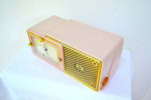 Luxe Fifth Avenue Pink Mid Century Retro Jetsons 1957 Bulova Model 120 Tube AM Clock Radio Excellent Condition! - [product_type} - Bulova - Retro Radio Farm