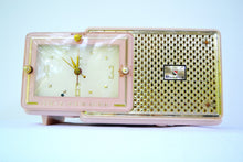 Load image into Gallery viewer, SOLD! - March 25, 2019 - Luxe Fifth Avenue Pink 1957 Bulova Model 120 Tube AM Clock Radio Excellent Condition! - [product_type} - Bulova - Retro Radio Farm