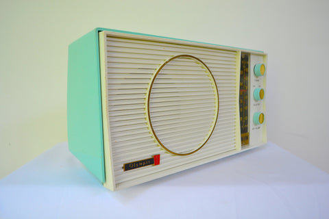 Turquoise and White Retro Jetsons Early 60s Olympic Model AFM-20 Tube AM FM Radio Totally Restored!