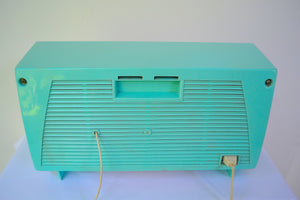 SOLD! - Aug 22, 2018 - BLUETOOTH MP3 UPGRADE ADDED - Turquoise and White Retro Jetsons Early 60s Olympic Model AFM-20 Tube AM FM Radio Totally Restored! - [product_type} - Olympic - Retro Radio Farm