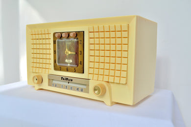 1956 TravLer 56C45 Tube AM Clock Radio in Ivory Cream With Rare Calendar Function! - [product_type} - Travler - Retro Radio Farm