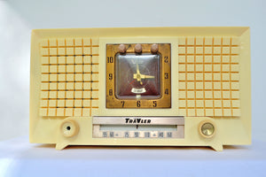 SOLD! - July 10, 2019 - 1956 TravLer 56C45 Tube AM Clock Radio in Ivory Cream With Rare Calendar Function! - [product_type} - Travler - Retro Radio Farm