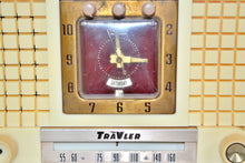 Load image into Gallery viewer, SOLD! - July 10, 2019 - 1956 TravLer 56C45 Tube AM Clock Radio in Ivory Cream With Rare Calendar Function! - [product_type} - Travler - Retro Radio Farm