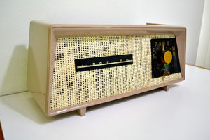 Sandalwood Beige Ivory Burlap 1954 Sparton Model 375C AM Tube Radio Real Looker! - [product_type} - Sparton - Retro Radio Farm