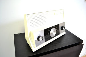 SOLD! - Jan. 11, 2019 - White RCA Victor Model 3RD50 AM Tube Radio Totally Restored Works Great! - [product_type} - RCA Victor - Retro Radio Farm