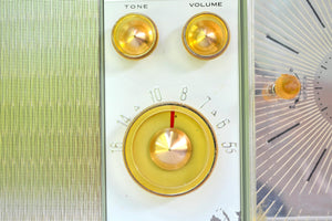 SOLD! - Dec. 6, 2018 - Eldorado Avocado Green 1962 Emerson Lifetimer II Model G1705 Tube AM Clock Radio - [product_type} - Emerson - Retro Radio Farm