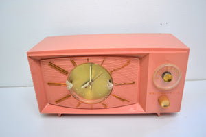 SOLD! - Aug 31, 2019 - Rose Pink 1959 Westinghouse Model H545T5A Vintage Tube AM Clock Radio Totally Restored! - [product_type} - Westinghouse - Retro Radio Farm