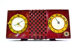 SOLD! - Nov 17, 2018 - CRANBERRY Mid Century Retro 1953 CBS Columbia 542 Tube AM Clock Radio - [product_type} - CBS - Retro Radio Farm