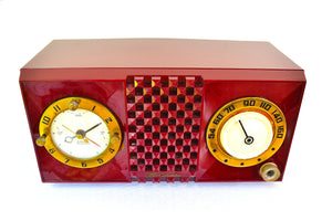 CRANBERRY Mid Century Retro 1953 CBS Columbia 542 Tube AM Clock Radio - [product_type} - CBS - Retro Radio Farm