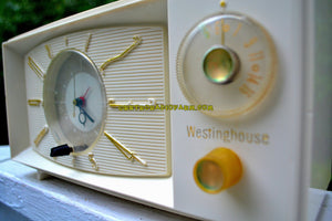 SOLD! - Nov 26, 2017 - SNOW WHITE Mid Century Retro 1959 Westinghouse Model H816L5 Tube AM Clock Radio Totally Restored!