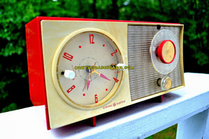 SOLD! - Sept 12, 2017 - CORVETTE RED AND WHITE Mid Century Vintage Retro 1959 General Electric GE Tube AM Clock Radio Totally Restored!