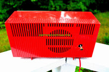 Load image into Gallery viewer, SOLD! - Sept 12, 2017 - CORVETTE RED AND WHITE Mid Century Vintage Retro 1959 General Electric GE Tube AM Clock Radio Totally Restored!
