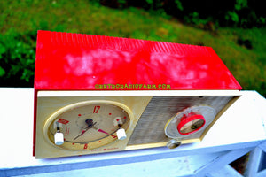 SOLD! - Sept 12, 2017 - CORVETTE RED AND WHITE Mid Century Vintage Retro 1959 General Electric GE Tube AM Clock Radio Totally Restored! - [product_type} - General Electric - Retro Radio Farm