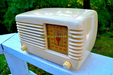 SOLD! - Dec 15, 2017 - BLUETOOTH MP3 Ready - ANTIQUE IVORY Vintage Deco Retro 1946 Philco Transitone 46-200 AM Bakelite Tube Radio Excellent Working Condition!