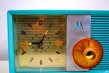 Load image into Gallery viewer, Sky Blue 1957 Motorola Motorola Model 6C24CW Tube AM Clock Radio Looks and Sounds Magnificent! - [product_type} - Motorola - Retro Radio Farm