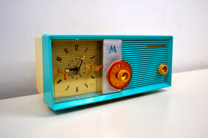 Sky Blue 1957 Motorola Motorola Model 6C24CW Tube AM Clock Radio Looks and Sounds Magnificent! - [product_type} - Motorola - Retro Radio Farm