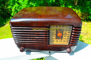 SOLD! - Sept 28, 2017 - BLUETOOTH MP3 Ready - BROWN MARBLED Swirly Vintage Deco Retro 1946 Philco Transitone 46-200 AM Bakelite Tube Radio Excellent Working Condition! - [product_type} - Philco - Retro Radio Farm