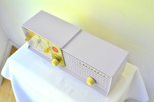 SOLD! - Oct 31, 2018 - Wisteria Lavender 1957 Motorola 57CD Tube AM Clock Radio Sweet!