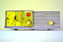 Load image into Gallery viewer, SOLD! - Oct 31, 2018 - Wisteria Lavender 1957 Motorola 57CD Tube AM Clock Radio Sweet! - [product_type} - Motorola - Retro Radio Farm