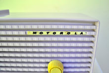 Load image into Gallery viewer, SOLD! - Oct 31, 2018 - Wisteria Lavender 1957 Motorola 57CD Tube AM Clock Radio Sweet!