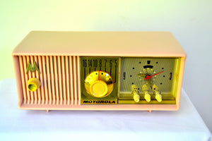 SOLD! - Mar 18, 2019 - Luscious Pink 1957 Motorola 57CC Tube AM Clock Radio Pristine Condition! - [product_type} - Motorola - Retro Radio Farm