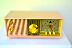 Luscious Pink 1957 Motorola 57CC Tube AM Clock Radio Pristine Condition!