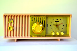 Luscious Pink 1957 Motorola 57CC Tube AM Clock Radio Pristine Condition! - [product_type} - Motorola - Retro Radio Farm