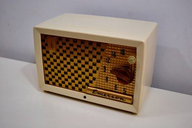 SOLD! - Dec. 14, 2019 - Ivory and Gold Retro Vintage 1955 Emerson Model 729B AM Tube Radio Totally Restored! - [product_type} - Emerson - Retro Radio Farm