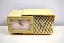 Load image into Gallery viewer, Palace Ivory and Gold 1959 Bulova Model 120 Tube AM Clock Radio Excellent Condition! - [product_type} - Bulova - Retro Radio Farm