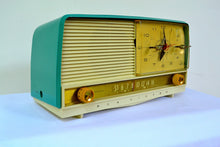 Load image into Gallery viewer, SOLD! - Sept 7, 2018 - Gorgeous Teal And White 1956 RCA Victor 9-C-71 Tube AM Clock Radio Works Great!