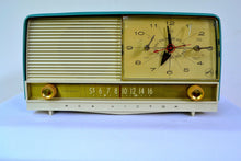 Load image into Gallery viewer, SOLD! - Sept 7, 2018 - Gorgeous Teal And White 1956 RCA Victor 9-C-71 Tube AM Clock Radio Works Great! - [product_type} - RCA Victor - Retro Radio Farm