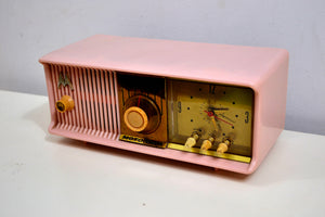 SOLD! - Oct 27, 2019 - MARILYN PINK Mid Century 1956 Motorola 56CD Tube AM Clock Radio She's A Doll! - [product_type} - Motorola - Retro Radio Farm