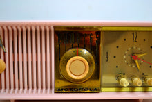 Load image into Gallery viewer, SOLD! - Oct 27, 2019 - MARILYN PINK Mid Century 1956 Motorola 56CD Tube AM Clock Radio She's A Doll! - [product_type} - Motorola - Retro Radio Farm