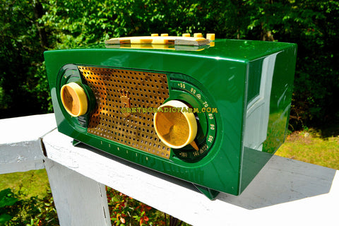 JADE DRAGON GREEN Mid Century Vintage 1955 Zenith Model R512F AM Tube Radio Bells and Whistles!