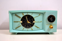 Load image into Gallery viewer, SOLD! - March 1, 2020 - Light Blue Turquoise 1959 Westinghouse Model 671T5 Vintage Tube AM Clock Radio Gorgeous and Sounds Great! - [product_type} - Westinghouse - Retro Radio Farm