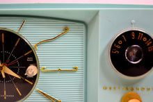 Load image into Gallery viewer, Light Blue Turquoise 1959 Westinghouse Model 671T5 Vintage Tube AM Clock Radio Gorgeous and Sounds Great! - [product_type} - Westinghouse - Retro Radio Farm