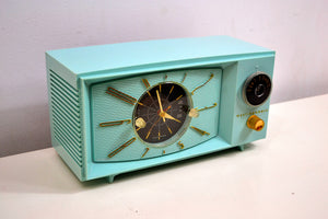 SOLD! - March 1, 2020 - Light Blue Turquoise 1959 Westinghouse Model 671T5 Vintage Tube AM Clock Radio Gorgeous and Sounds Great! - [product_type} - Westinghouse - Retro Radio Farm