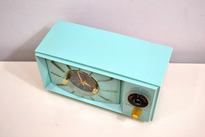 Light Blue Turquoise 1959 Westinghouse Model 671T5 Vintage Tube AM Clock Radio Gorgeous and Sounds Great! - [product_type} - Westinghouse - Retro Radio Farm