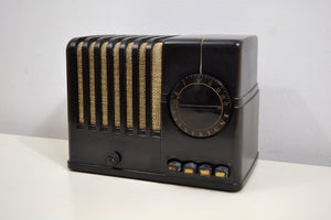 SOLD! - Jan 12, 2020 - Midnite Black Vintage Bakelite 1938 Silvertone Model 6102A AM Tube Radio Rare and Sounds Great! - [product_type} - Silvertone - Retro Radio Farm