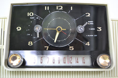 Classic White 1957 General Electric Model 912D Tube AM Clock Radio