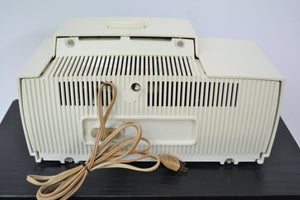 SOLD! - July 8, 2019 - Classic White 1957 General Electric Model 912D Tube AM Clock Radio - [product_type} - General Electric - Retro Radio Farm