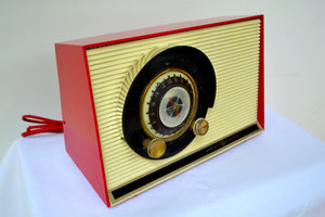 SOLD! - Sept 16, 2018 - - BLUETOOTH MP3 UPGRADE ADDED - Caliente Red and White 1957 General Electric 862 Tube AM Radio