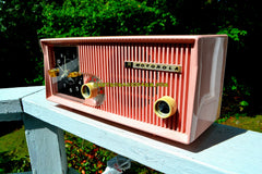 SOLD! - Sept 13, 2017 - CAMEO PINK Mid Century Retro Vintage Antique Motorola 1957 Model 5C13P Clock Radio Tube AM Clock Radio Rare Model!