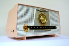 Pink and White Vintage 1957 RCA C-4FE AM Tube Radio Totally Restored!