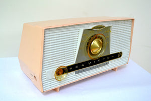 SOLD! - Dec 1, 2018 - Pink and White Vintage 1957 RCA C-4FE AM Tube Radio Totally Restored! - [product_type} - RCA Victor - Retro Radio Farm